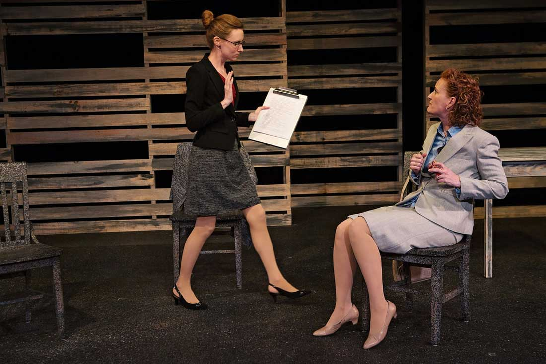 Meg Shideler (left) and Julienne Greer star in Circle Theatre's powerful The Other Place.