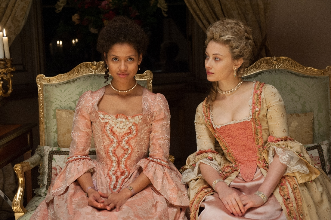 Gugu Mbatha-Raw and Sarah Gadon are decked out in their 18th-century finery in Belle.