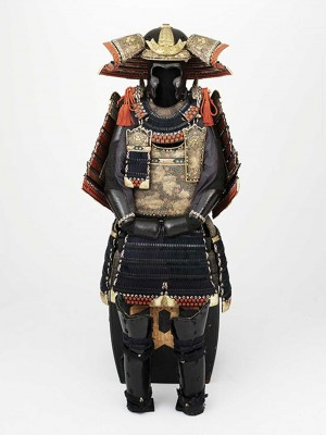 Iron, leather, gold, and bronze combine in this suit of armor from the mid-Edo Period.
