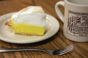 A slice of lemon meringue pie and hot cup of joe await. Lee Chastain