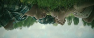 Brenton Thwaites and Olivia Cooke are filmed from a trippy angle during The Signal.