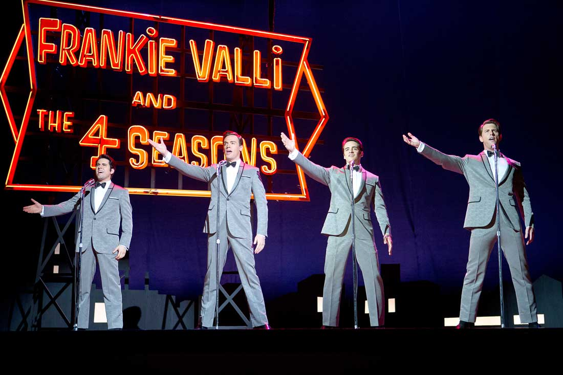John Lloyd Young, Erich Bergen, Vincent Piazza, and Michael Lomenda sing about a girl named Sherry in Jersey Boys.