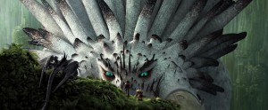 Hiccup meets the very large alpha dragon in How to Train Your Dragon 2.