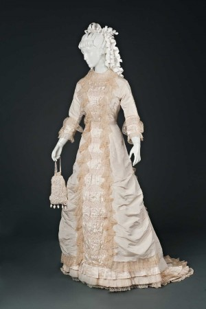 Silk and lace wedding gown, 1874