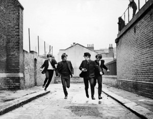 The Beatles run free in A Hard Day's Night.