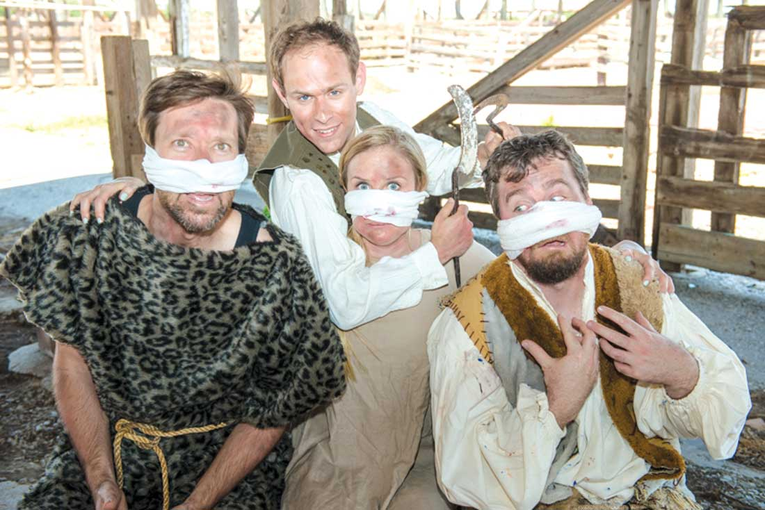 Scott Zenreich (without bandage) tries out his primitive plastic surgery techniques on Brandon Murphy, Alexandra Lawrence, and John Forkner in Amphibian Productions' The Nosemaker's Apprentice.