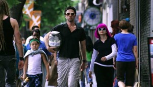 Pierce Gagnon, Zach Braff, and Joey King emerge from a wig shop with their latest purchase in Wish I Was Here.