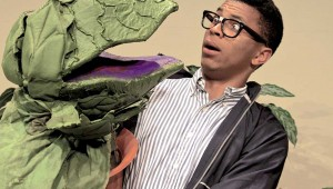 Gabriel Lawson comes face to, uh, face? with Audrey in Jubilee Theatre's Little Shop of Horrors. See Sunday.