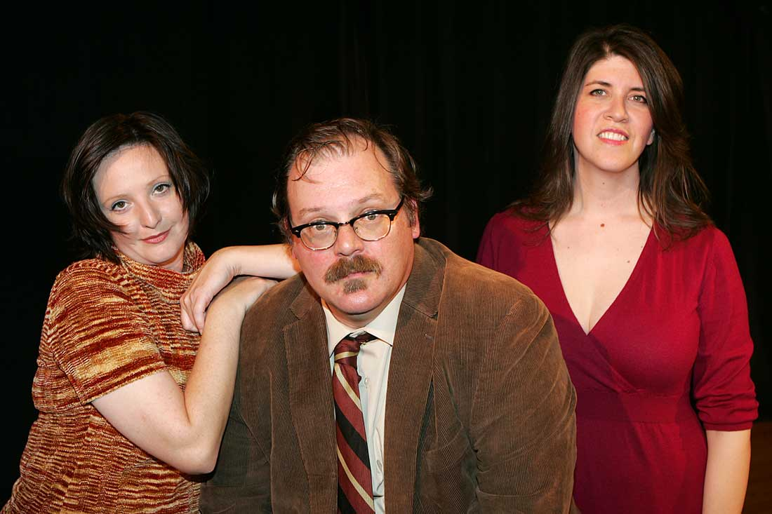 (From left to right) Mary Jane Greer, Seth Johnston, and Laura Lutz Jones star in Drag Strip Courage's production of Pinter's giddy romp Old Times. Lee Chastain