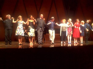 Curtain call featuring (from left to night) Buddy Brae, Corrie Donovan, Cecily Gordon, Chrisian Bester, Ricky Ian Gordon, Colleen Mallette, Jenna Meador, Amy Stewart, Alison Whitehurst, and Anthony Fortino