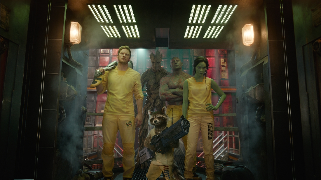 (Clockwise from top) Groot, Dave Bautista, Zoe Saldana, Rocket, and Chris Pratt are an unlikely bunch of Guardians of the Galaxy.