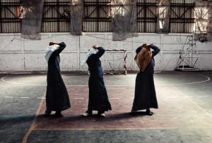 Gazan women exercise in full hijab.