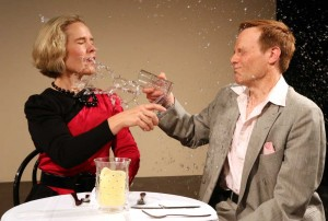 Dana Schultes and Mark Shum's initial blind date does not go well in Stage West's Beyond Therapy. See Sunday.