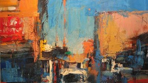 "Fort Worth's Tony Saladino abstracts one particular historic district in his painting ""Fort Worth Stockyards Revisited II."""