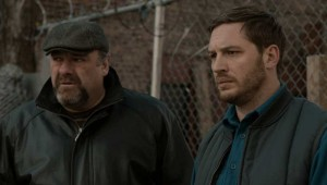 James Gandolfini and Tom Hardy ponder a grim situation in The Drop.