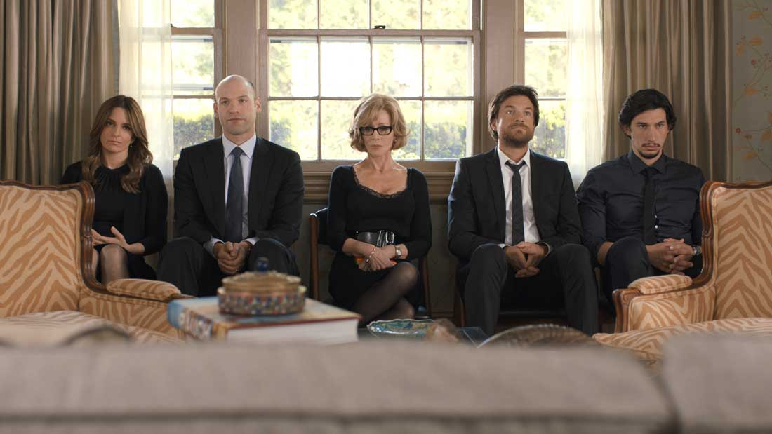 Tina Fey, Corey Stoll, Jane Fonda, Jason Bateman, and Adam Driver put on their shiva faces in This Is Where I Leave You.