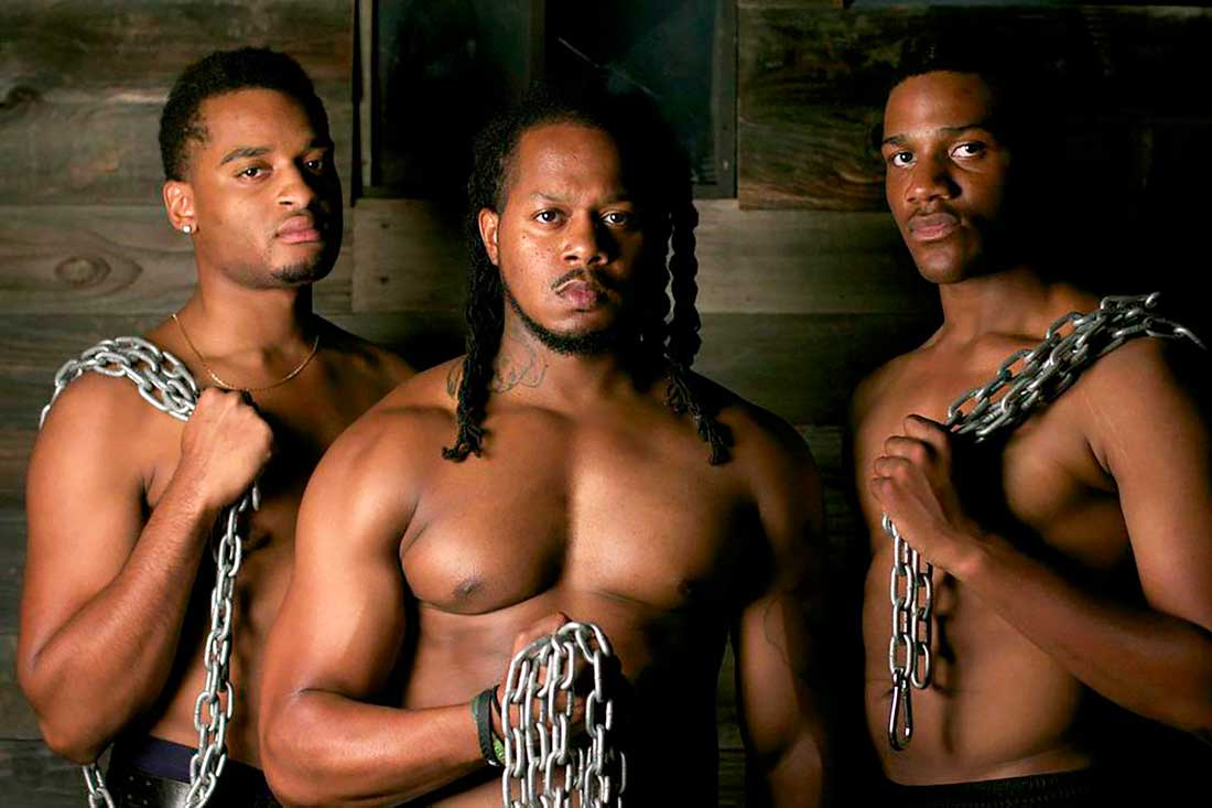 Adam A. Anderson, Rico Romalus, and Seun Soyemi star in Jubilee Theatre's The Brothers Size. See Friday.