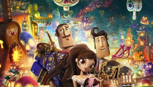 Joaquín, María, and Manolo stand in front of a Día de los Muertos world in The Book of Life.