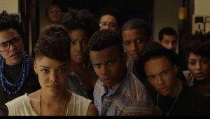 Tessa Thompson (foreground, left) and her friends take a dim view of racial stereotypes in Dear White People.