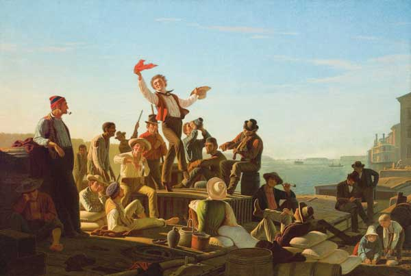 """Jolly Flatboatmen in Port"" is part of the Amon Carter's Navigating the West: George Caleb Bingham and the River."