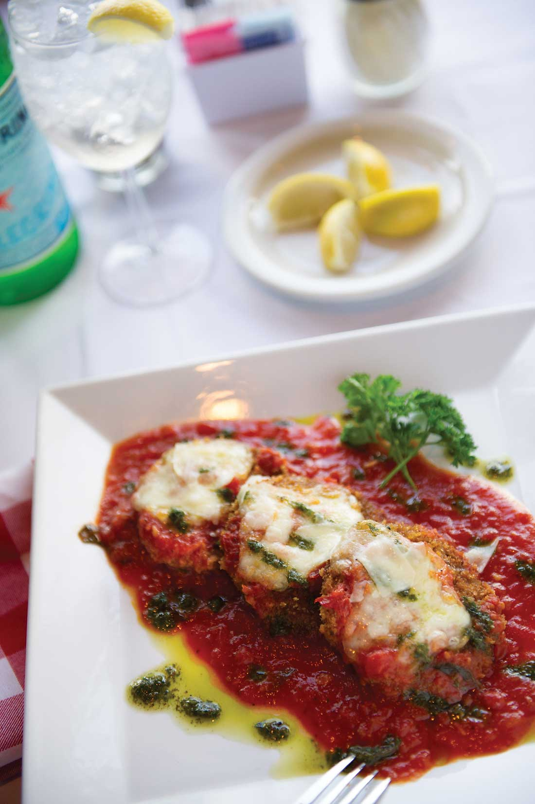 Don't let leisurely service keep you from Spazzio's eggplant medallions.