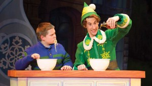 "Connor Barth and Matt Kopec enjoy a pasta dinner in ""Elf: The Musical."""