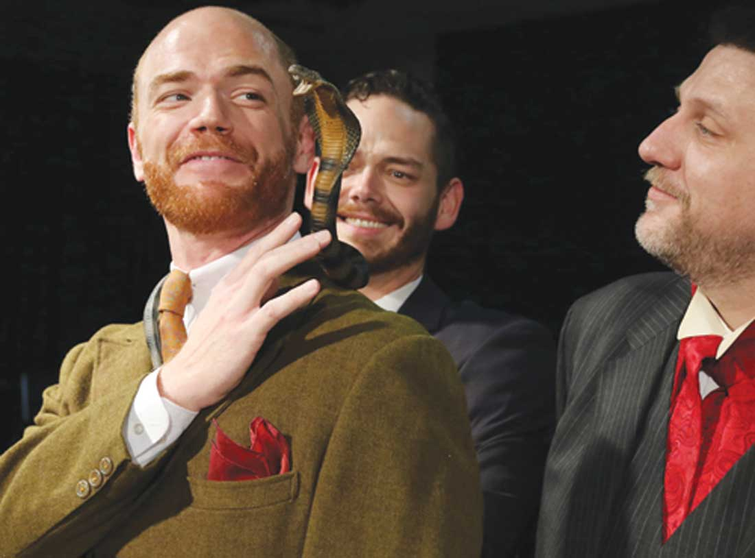 Aaron Roberts, cobra, John-Michael Marrs, and Thomas Ward in Stage West's The Explorers Club.
