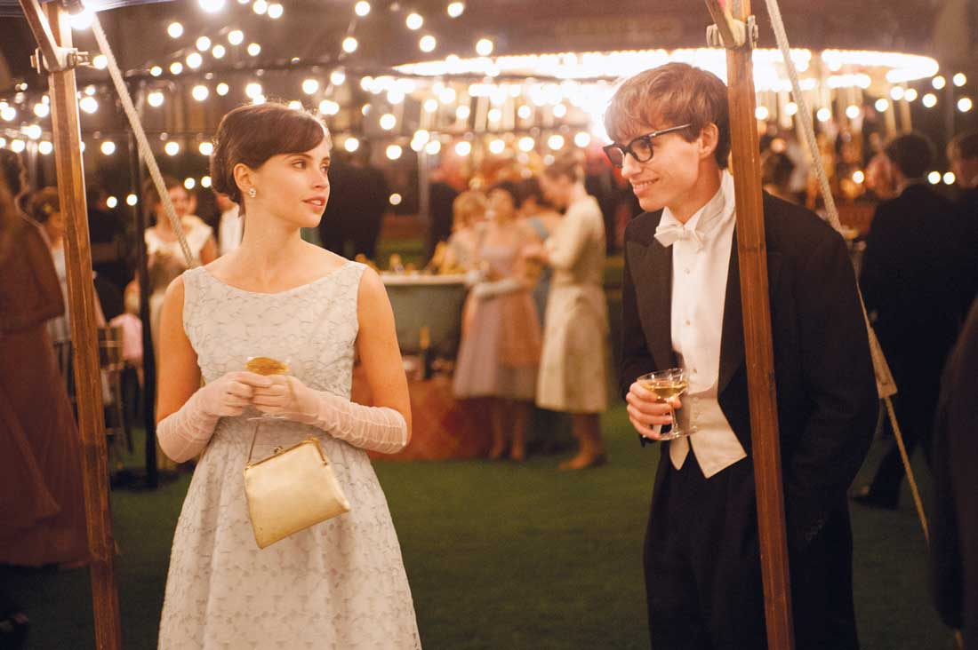 Felicity Jones and Eddie Redmayne woo each other under the lights of Cambridge in The Theory of Everything.