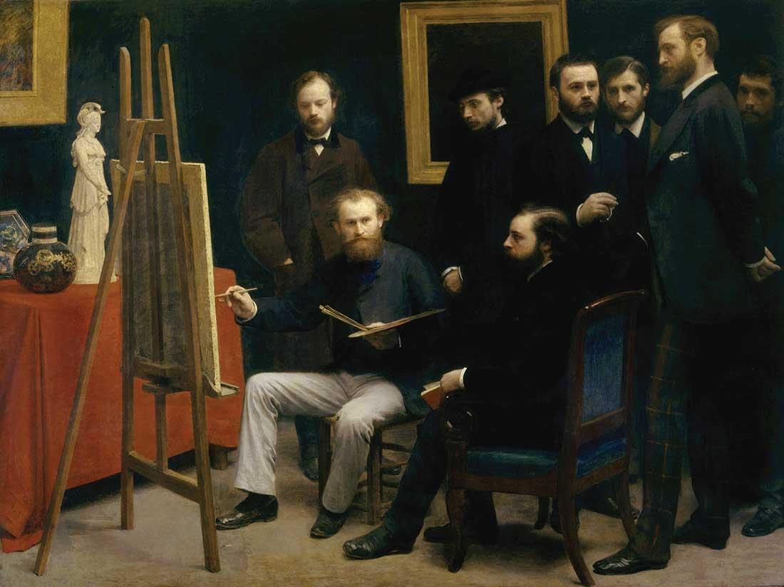 """Henri Fantin-Latour's striking """"A Studio at Les Batignolles"""" is a group portrait."""