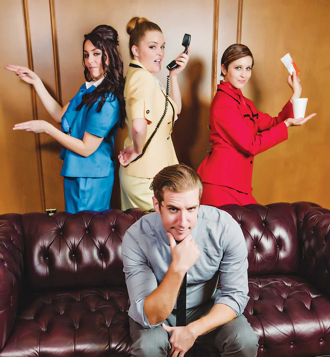 Jonathan Flippo (front) finds it difficult to juggle Taylor Staniforth, Jenna Anderson, and Sara Blair in Theatre Arlington's Boeing-Boeing.