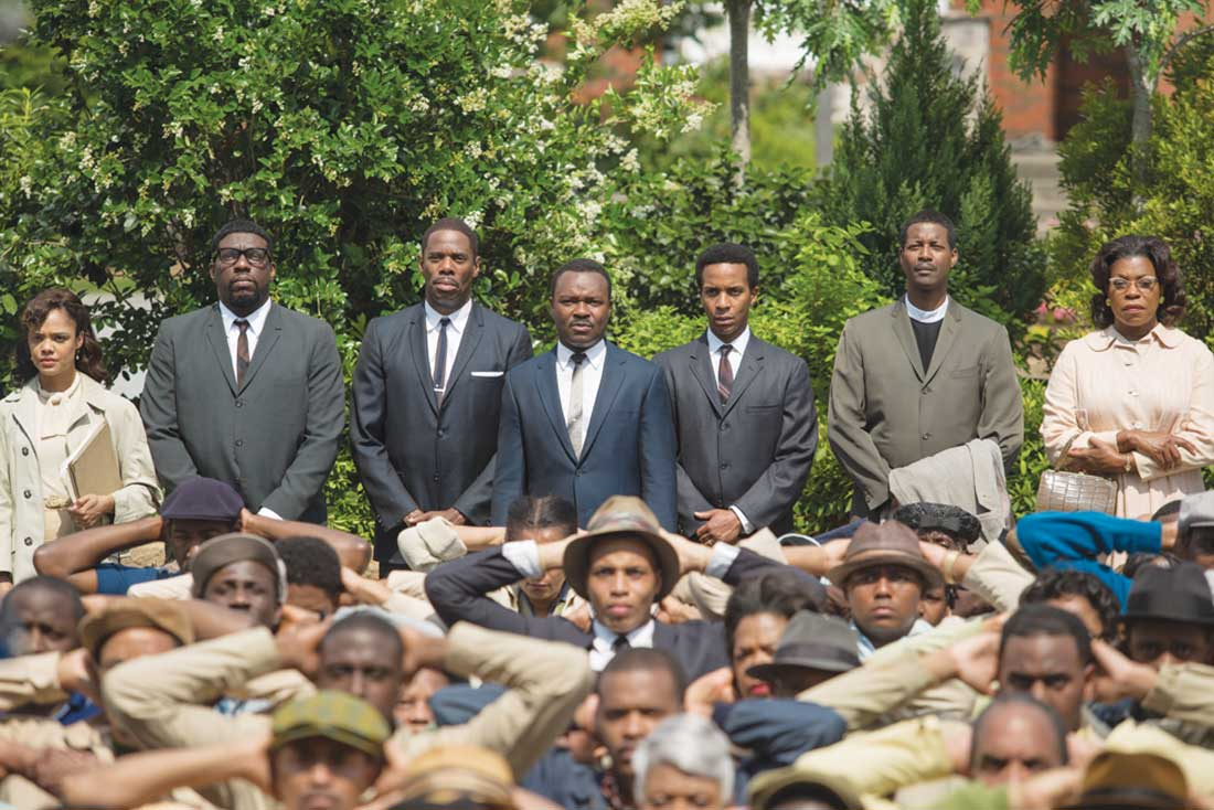 Black lives matter: David Oyelowo (back row, center) leads a nonviolent protest in Selma.