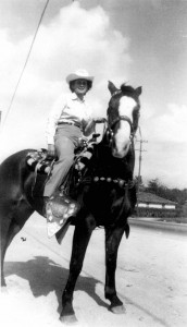 Sister Camella Menotti on horseback