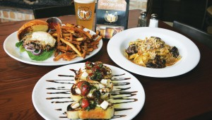 The buffalo burger (from left to right), bruschetta, and braised short-rib pasta prove that Social House is more than socializing. Lee Chastain
