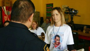 Jessica Castillo, Daniel Brumley's mother,  talked with Deputy Chief Charlie Ramirez at the meeting. Jeff Prince