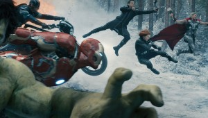Mark Ruffalo, Chris Evans, Jeremy Renner, Scarlett Johansson, and Chris Hemsworth go airborne in Avengers: Age of Ultron.