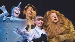 Ryan Page, Joshua Kumler, Brooke Verbois, and Greg Dulcie head down the Yellow Brick Road in Casa Mañana's The Wizard of Oz.