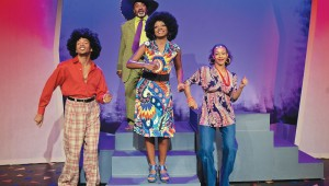 Gabriel Lawson, Gil Pritchett, Ebony Marshall-Oliver, and Kyndal Robertson show their flower power in Don't Bother Me, I Can't Cope.