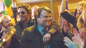 James Marsden and Jack Black make a triumphant entrance at their 20th high school reunion in The D Train.