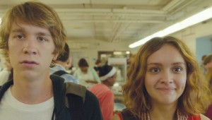 Thomas Mann and Olivia Cooke prepare to face the cafeteria chaos in Me and Earl and the Dying Girl.