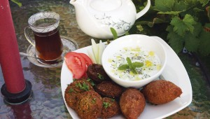 You can order the kibbeh plate with or without the cup of hot chai at Qana Café and Hookah. Photo by Lee Chastain.