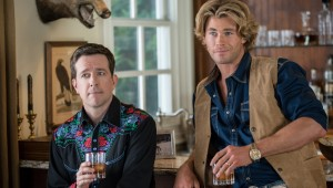 Ed Helms and Chris Hemsworth go overboard on the Western wear in Vacation.