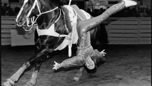 Laura West's photograph of a trick rider at the 2001 Fort Worth Stock Show & Rodeo is part of That Day: Laura West at the Amon Carter Museum.