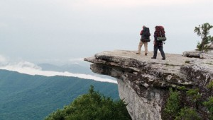 "Robert Redford and Nick Nolte look out from the McAfee Knob on the Appalachian Trail in ""A Walk in the Woods."""