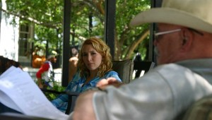 MADELYN DEUTCH AND BARRY CORBIN RUN LINES ON THE SET OF WINDOR LAST SUMMER. (photos by jeff prince)