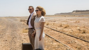 "Daniel Craig and Léa Seydoux wait for a train in the Moroccan desert in ""Spectre""."