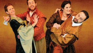 Felicia Bertch, Robert Gemaehlich, Karen Matheny, and Andrew Manning star in Stolen Shakespeare Guild's 17th-century shows.