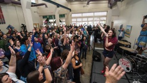 Denton singer-songwriter Jessie Frye rocked a recent Bernie Sanders event in her hometown to get people to feel the Bern. Photo courtesy of Jessie Frye.