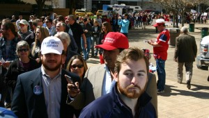 A LONG LINE OF PEOPLE HEAD TOWARD THE SOUTH ENTRANCE AT FORT WORTH CONVENTION CENTER (all photo by Jeff Prince)