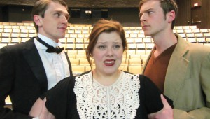 Christopher Taylor, Shayleigh Ward, and Caddo Lindsey are caught in a triangle in UNT's Stage Kiss.