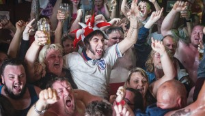 Come on, England! Sacha Baron Cohen and his fellow yobs watch the big game in The Brothers Grimsby.